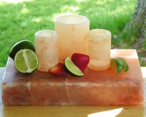 Himalayan Salt Stone Cutting Board Shot Glasses Glass Set 1